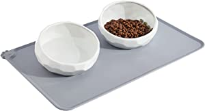 Frewinky Dog Bowls,Ceramic Dog-Food Bowl and Water Bowl Set for Small Size Dogs and Cats ,No Spill Non Skid Dog Bowl Mat and Tilted Double Pet Bowls,Set of 3,20 Oz
