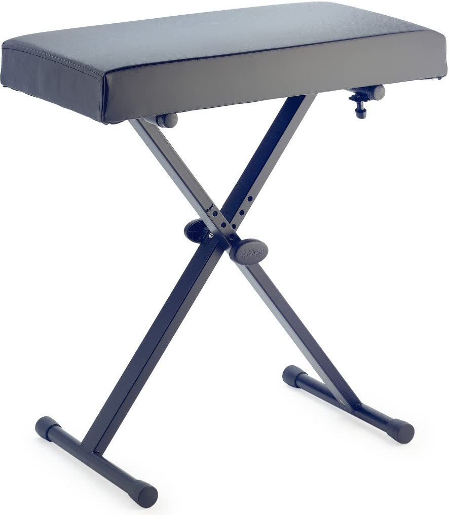 Stagg KEB-A30 Adjustable Keyboard Bench with X-Style Folding Legs Black
