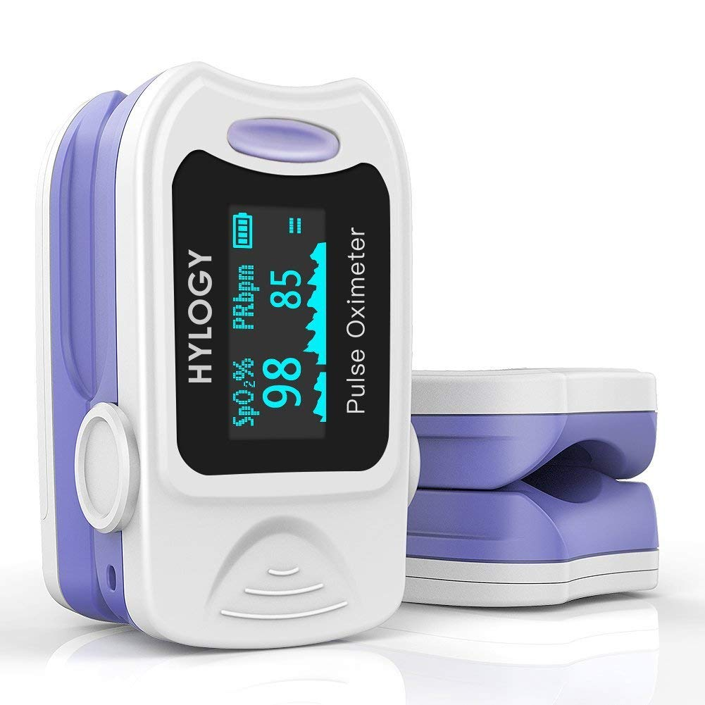 Pulsossimetro, HYLOGY saturazione di ossigeno nel sangue monitor con borsa per il trasporto, batterie e cordino, spegnimento automatico e veloce lettura salute Fit for family (bianco) product image