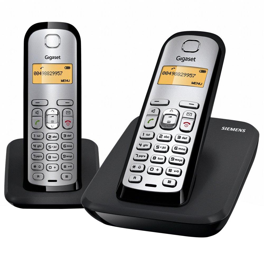 Siemens Gigaset AS 290 DUO - Teléfono fijo digital (inalámbrico, alarma, CLIP, lista de direcciones: 80), Negro y Plata