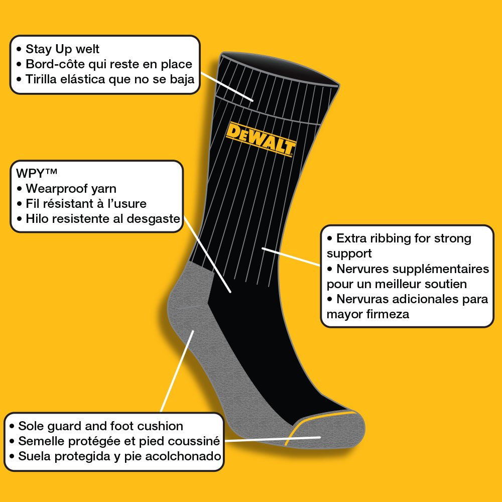 DEWALT Mens 2 Pack All-Season Cotton Crew Work Socks (Black), 10-13 at Amazon Mens Clothing store: