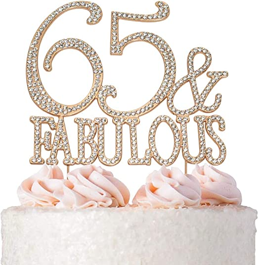 65 and Fabulous Cake Topper | ROSE GOLD | Birthday or Anniversary | Premium Diamond Crystal Rhinestones | Monogram Number Forty | 65th Birthday or ...