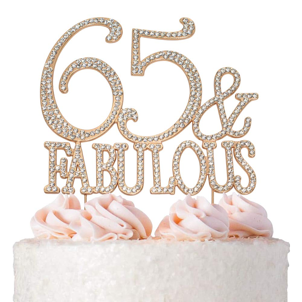 65 and Fabulous Cake Topper | ROSE GOLD | Birthday or Anniversary | Premium Diamond Crystal Rhinestones | Monogram Number Forty | 65th Birthday or Anniversary Party Supply Decoration Ideas | Keepsake