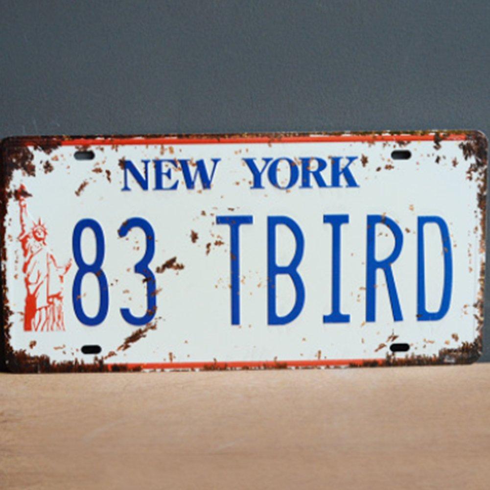 Newin Star Vintage Feel Rustic Home Bain et Bar D/écoration Murale New York City Pattern Car Plaque Automobile Souvenir Metal Plaque en m/étal Plaque 1/pi/èce