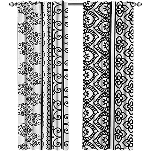 Returiy Henna, Curtains and Drapes, Old Vintage Swirls Leaf Figures Abstract Artistic Composition with Vertical Borders, Curtains for Sliding Glass Door, W84 x L108 Inch, Black White