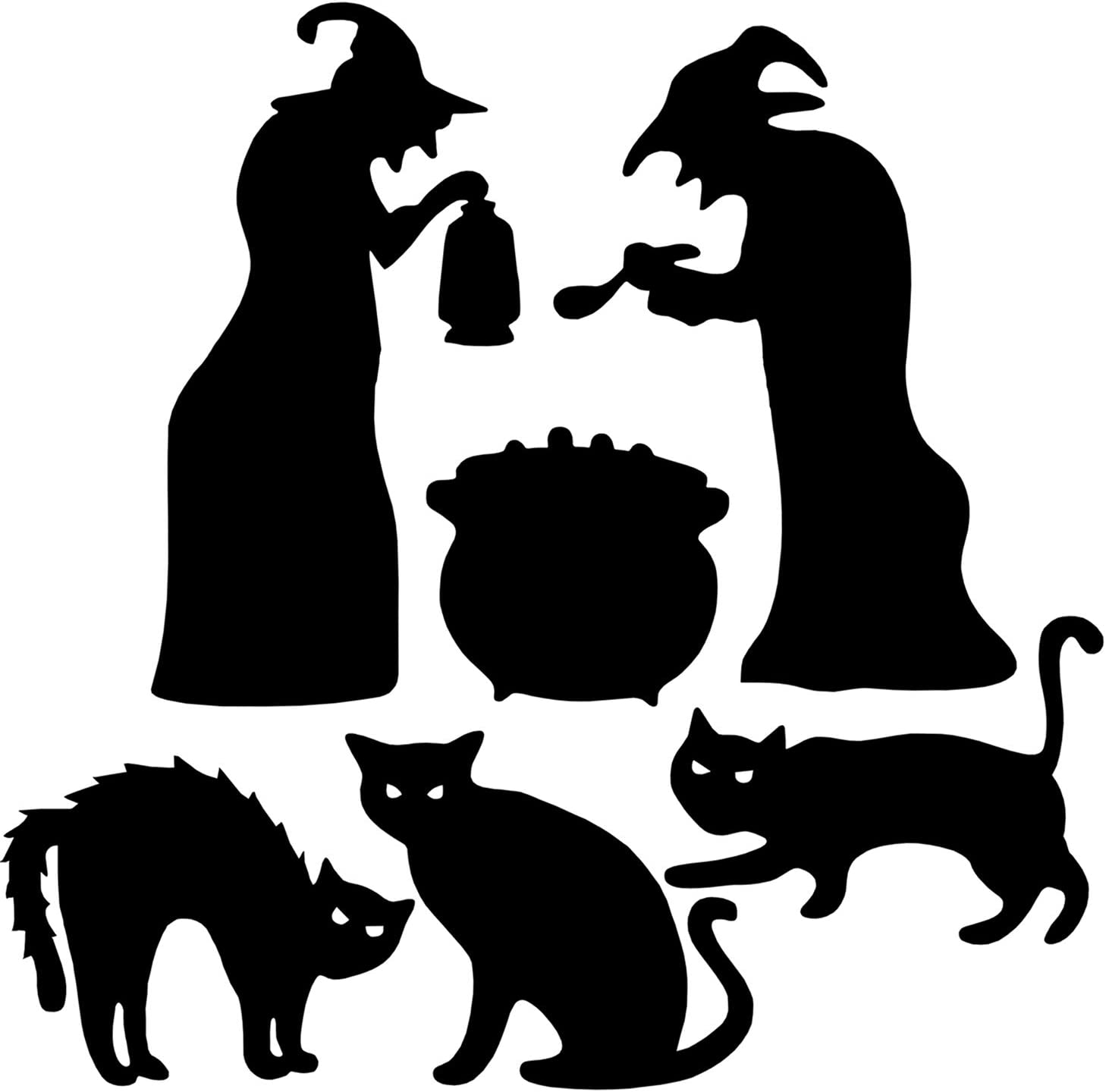 Deloky 6 PCS Halloween Yard Signs with Stakes-Witches Black Cauldron and Black Cat Silhouette Yard Signs with Stakes-Halloween Yard Lawn Party Signs Decorations