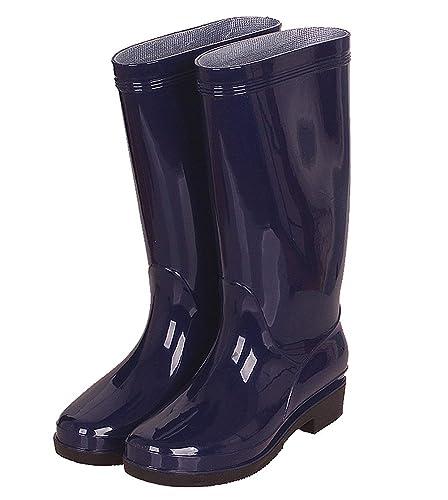 b74b68f67d69a Haute Bottes de Pluie Femmes Imperméable Wellington en Caoutchouc Jardin  Boots Noir Rouge Bleu Taille 36