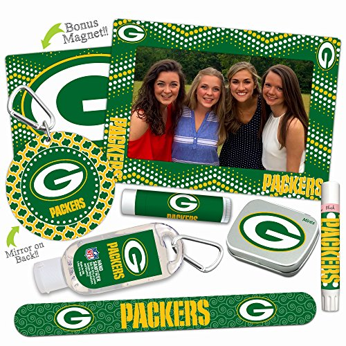Green Bay Packers Deluxe Variety Set with Nail File, Mint Tin, Mini Mirror, Magnet Frame, Lip Shimmer, Lip Balm, Sanitizer. NFL gifts for women Mother's Day, Stocking Stuffers