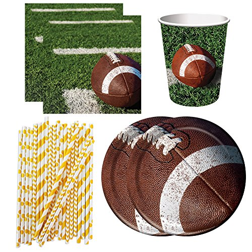 Football Tailgate Rush Party Pack for 16 Guests - Lunch Plates, Beverage Napkins, Cups, and Straws -