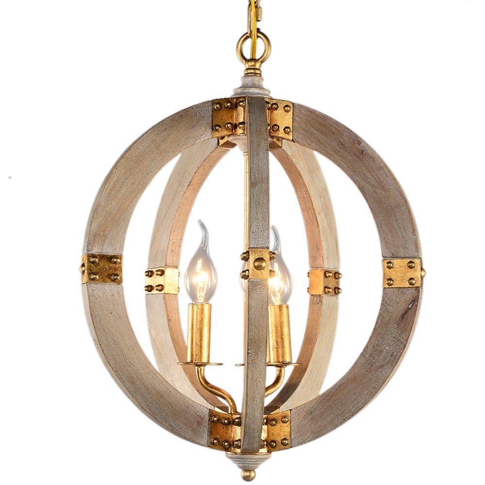 Home Wood Orb Chandelier 15-inch Vintage Pedant Lamp Antique 3 Candle Lamp Holder E12