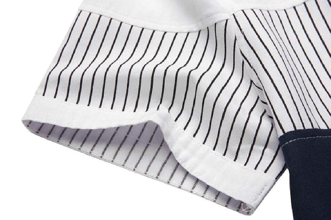Nanquan Men Short Sleeve Contrast Stripe Casual Slim Fit Button Down Shirt