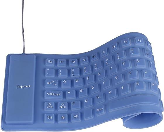 Silicona teclados, weant Ultra Slim plegable de silicona teclado impermeable resistente al polvo con cable enrollable USB de sílice teclado para ...