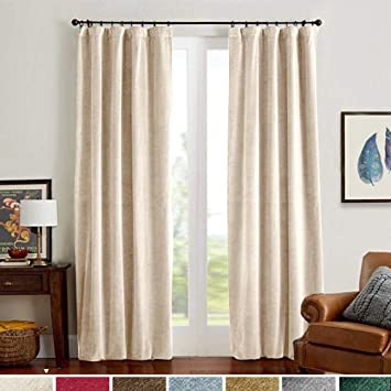 Velvet Curtains Beige 95 Inches Thermal Insulated Window Super Soft Luxury  Drapes for Bedroom Curtain Panels Rod Pocket 2 Panels