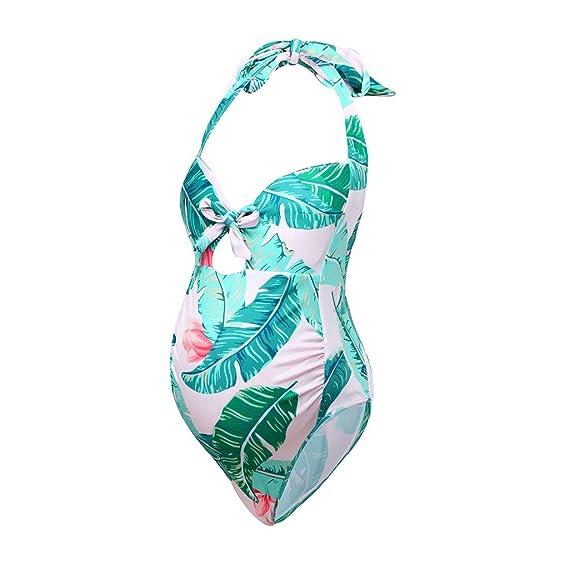 bañador de Maternidad con Estampado Floral para Mujeres Embarazada Traje de baño Premamá Bikinis