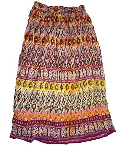 Chaudry Women's Long Length Pull-On Skirt-Boho, Peasant,Gypsy (Small, Pink Multi) - Peasant Skirt