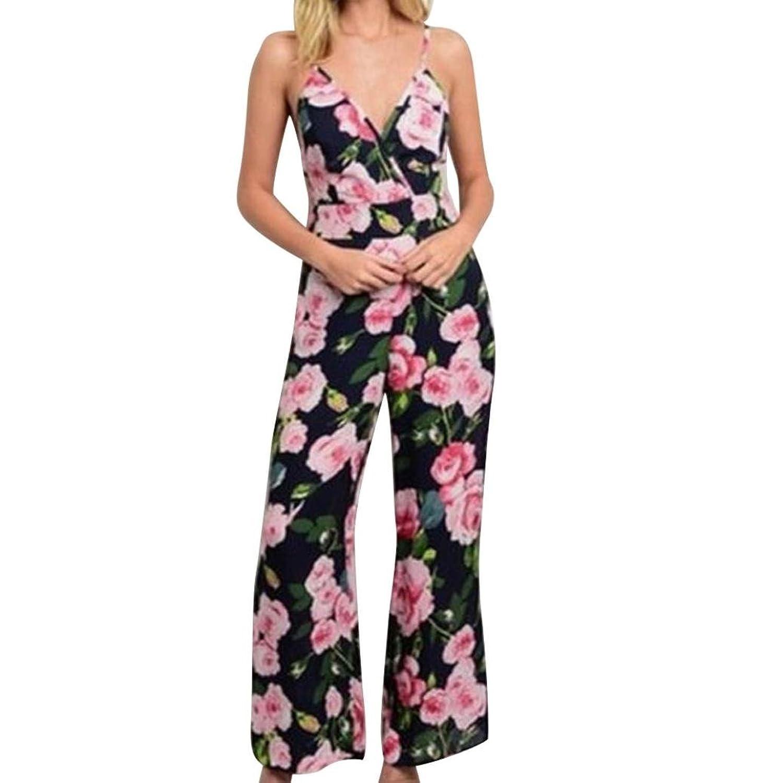 6d53483b0f neu Amphia Jumpsuit Damen V-Ausschnitt Elegant Sommer Hosenanzug  Blumenmuster Ärmellos Overall Romper