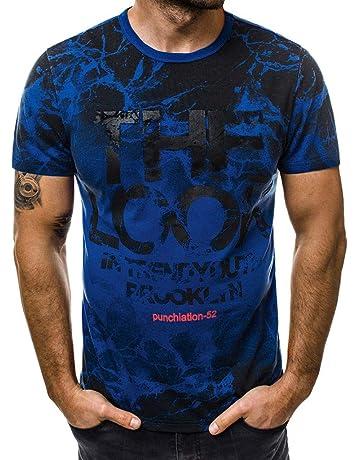 c8e2c0303 Camisas Hombre Manga Corta LANSKIRT Camiseta de Manga Corta con Estampado  de Letras para Hombres Blusas