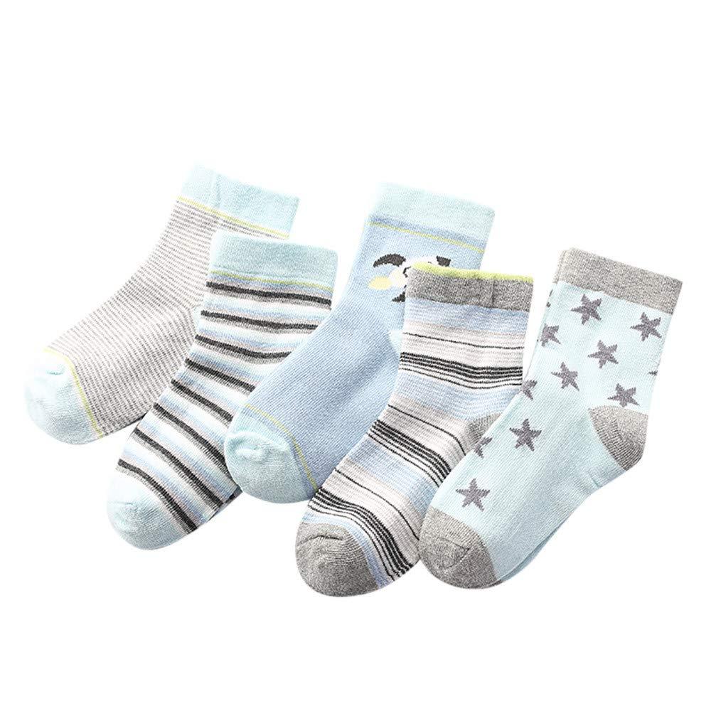 Moonuy 5 Pairs Toddler Socks Baby Girls Boys Cartoon Animal Print Socks Baby Medium Stockings