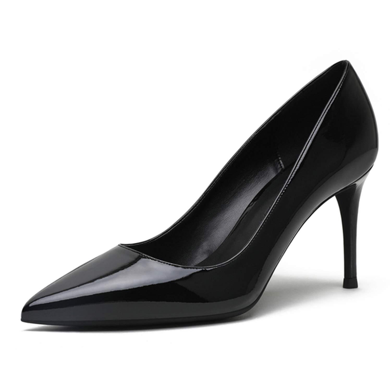 Black Wedding shoes Women Pumps Patent Leather8Cm Thin Heel shoes for Women,K-318