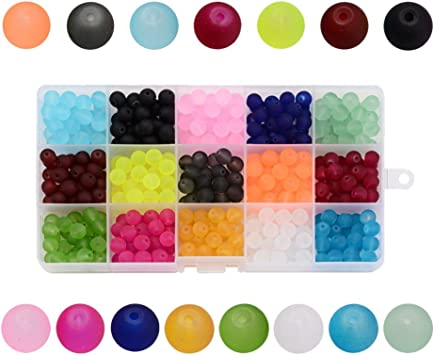 600pcs Mixed Transparent Frosted Glass Beads  Crackle Beads Spacer Round 6~10mm