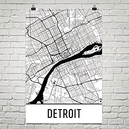 Amazon.com: Modern Map Art Detroit Poster, Detroit Art Print ...