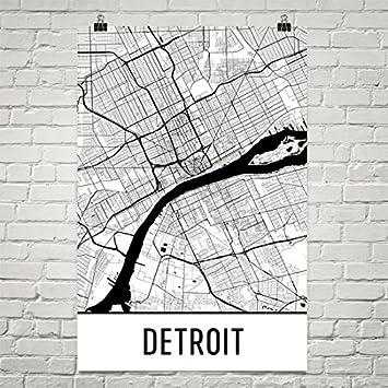 Detroit poster detroit art print detroit wall art detroit map detroit city