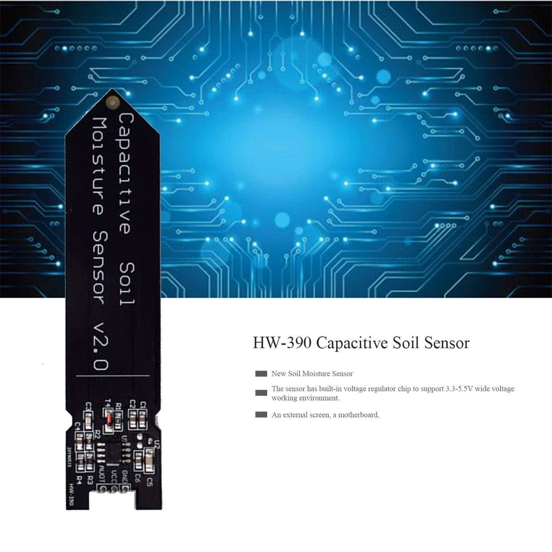 El Sensor Capacitivo de Humedad del Suelo MXECO Hw-390 no es f/ácil de corroer Operaci/ón de Voltaje Amplio Alimentaci/ón de Alambre Negro