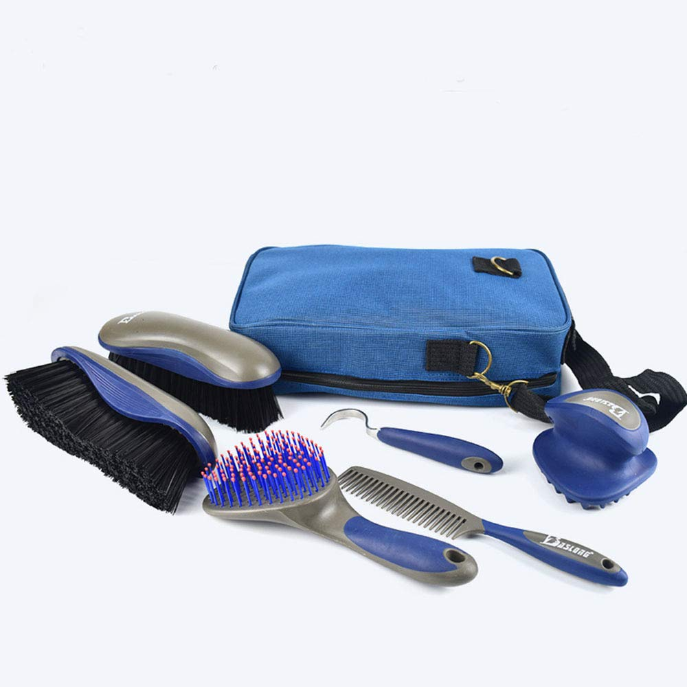FAN STAR Boutique Horse Grooming Kit,Cleaning kit,Horse House Supplies,Horseshoe Hook,Hard brush (including nylon bag) private horse owner commonly used