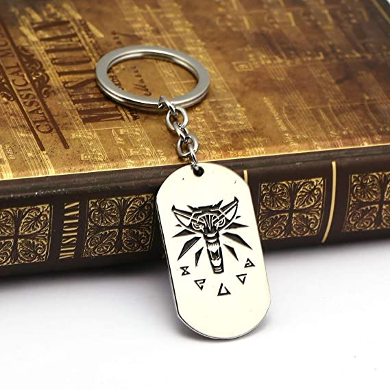 Mct12 - The Witcher 3 Wild Hunt keychain Wolf silver color ...