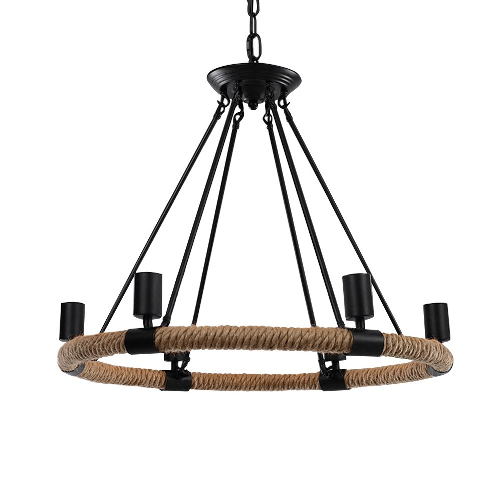 Boshen industrial vintage hemp rope chandelier iron ceiling lamp pendant metal island lighting fixture for living room cafe basement restaurant bar 3