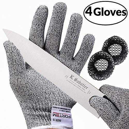 Cut Work Resistant Gloves (Cut Resistant Gloves By FORTEM - Level 5 Protection | Food Grade | EN388 Certified | Safety Cutting Gloves For Hand Protection in Kitchen (Medium 2 Pair))