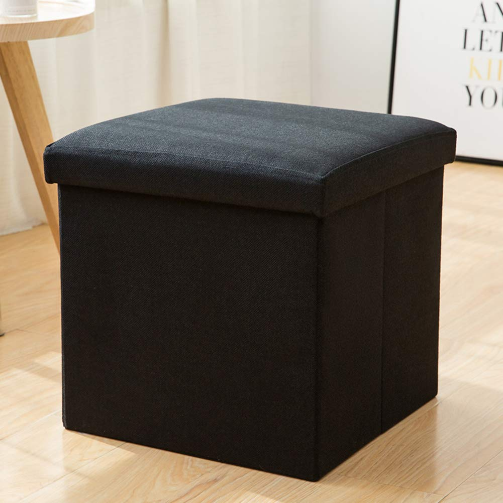 Black 76x38x38cm(30x15x15) Cotton and Linen Multi-Function Storage Footstool,shoes Bench Folding Household Toy Stool Storage Box Can sit Adult-Beige 76x38x38cm(30x15x15)