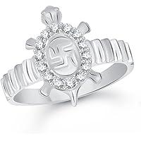 VK Jewels Swastik Tortoise Rhodium Plated Ring- FR1843R [VKFR1843R]