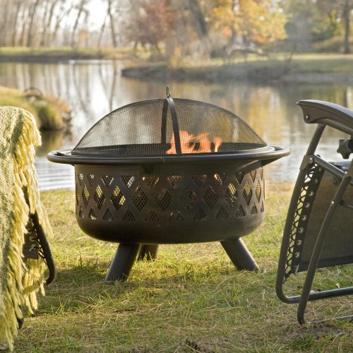- Red Ember Bronze Crossweave Firebowl Fire Pit with FREE Grill Grate and Cover - LR32-CGG
