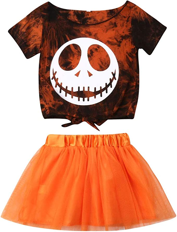 Kids Halloween Sets,Jchen Baby Kids Boys Girls Cartoon Nightmare Romper  Tutu Skirt Dress Halloween Outfits for 0-18 Month Repair Patches