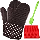 "13"" Heat Resistant Silicone Oven Mitts with Brush &Trivet Mat, SourceTon 1 Pair of Professional Grill Gloves with Extra Long Quilted Cotton Lining Liner for Kitchen Cooking Baking"