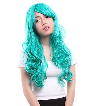 lemail peluca 60 – 65 cm de largo Color Turquesa Oscuro Anime Ondulado Cosplay Peluca cw182