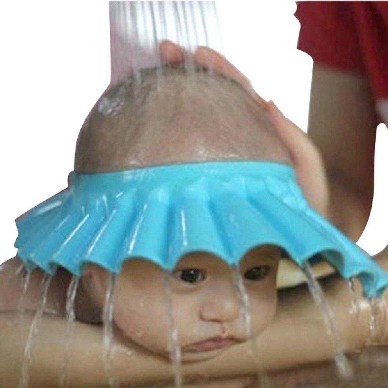 Protecci/ón Segura Champ/ú Ducha Ba/ño Suave gorro para Ni/ños de ni/ños y ni/ños para mantener el agua fuera de sus ojos y Rostro azul beb/é