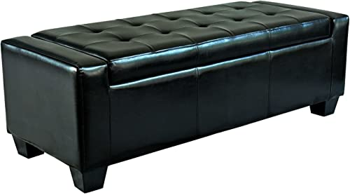 HOMCOM 51 Faux Leather Unique Tufted Storage Bench Ottoman – Polished Black