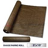Windscreen4less Brown Sunblock Shade Cloth,95% UV Block Shade Fabric Roll 6ft x 16ft