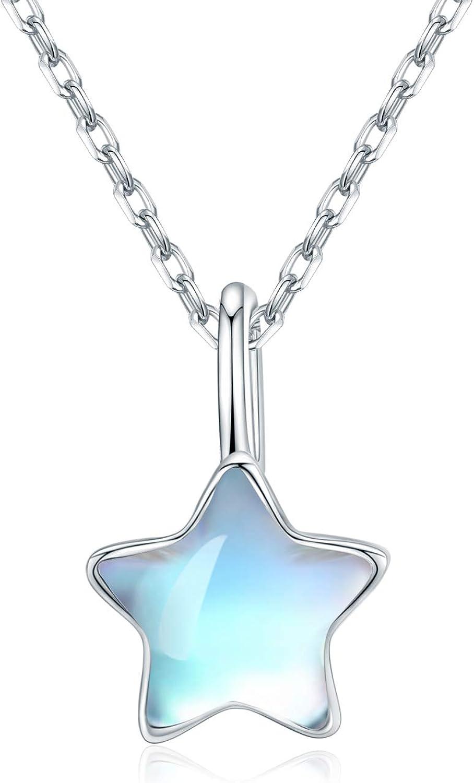 CUOKA MIRACLE Collar de Estrella 925 Collar de Piedra Lunar arcoíris de Plata esterlina para Mujer Joyas de Piedra Lunar Niñas Niños