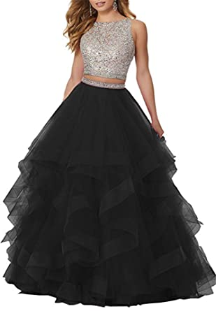 3a699a5822 QiJunGe Modest Sequin Beaded Prom Gown Floor Length Formal Evening ...