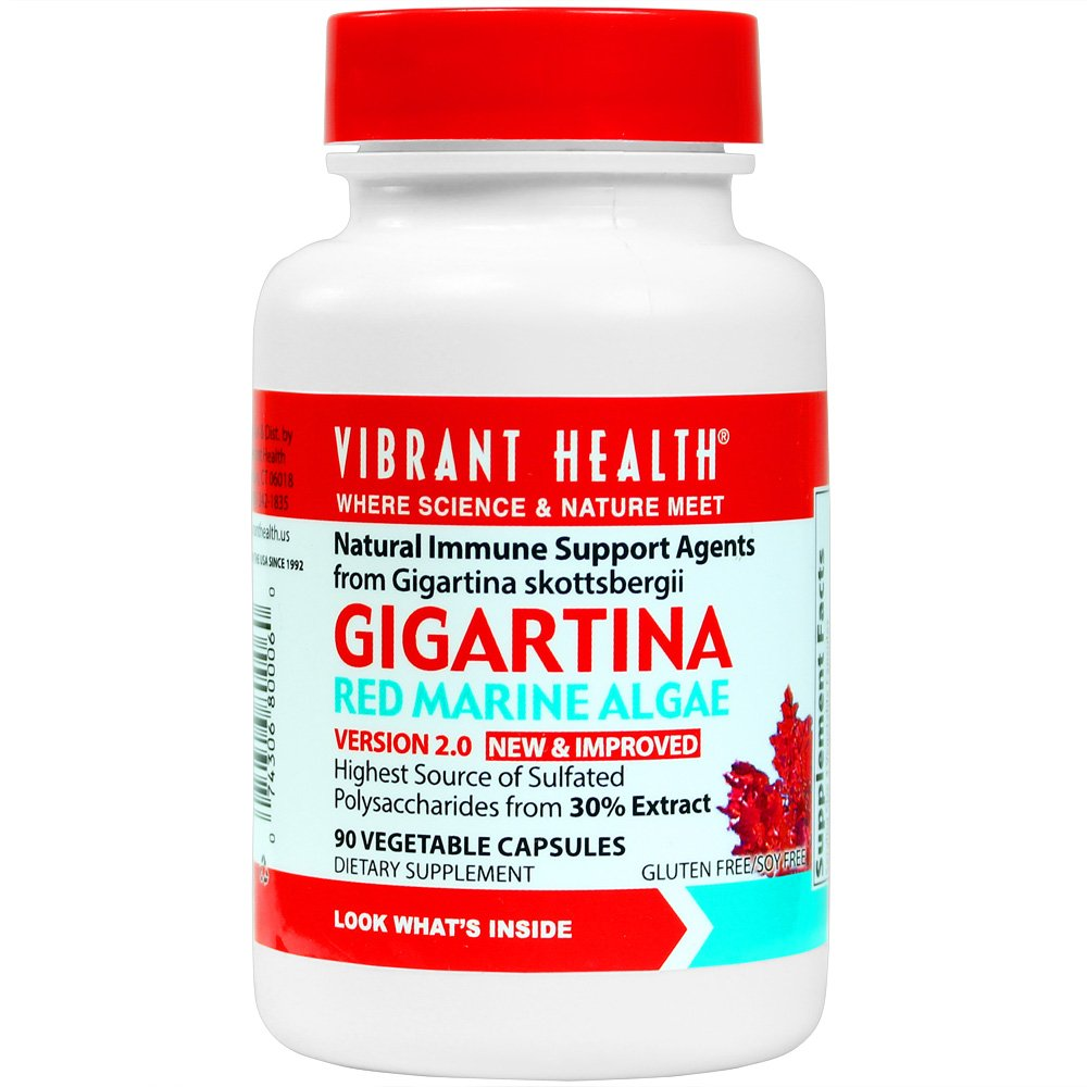 Vibrant Health - Gigartina Red Marine Algae, Natural Support for Immune Function and Healing, Gluten Free, Dairy Free, Non-GMO, Vegetarian, 90 Count (FFP)