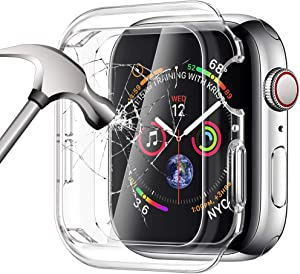 SIRUIBO Tempered Glass Screen Protector Compatible for Apple Watch Series 6 SE 40mm, Soft TPU Bumper Case Slim Easy Install Touch Accessories Overall Protective Cover for iwatch Series 6/5/4 SE Clear
