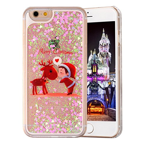UCLL Iphone 7 Case, Iphone 7 Liquid Case, Christmas Snowman Elk Santa Claus Design Case for Iphone 7 Cool Quicksand Moving Stars Bling Glitter Flowing Case with a Screen Protector Gold Rose (B)