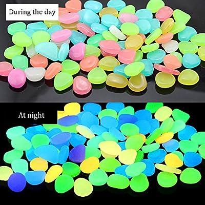 RETON 500 Pcs Man-Made Glow Pebbles Stone Luminous Decorative Stones for Garden Walkway Yard & Fish Tank Decorative Stones (Mixed Colors) : Garden & Outdoor