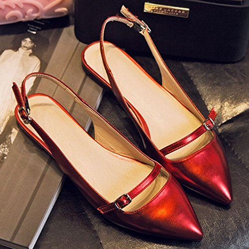 Pointu Sandales Red RAZAMAZA Slingback Bout Femmes Mode Zw6nxCqa7