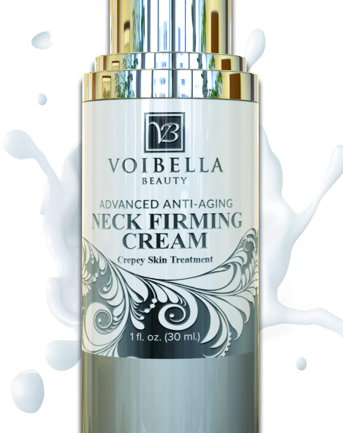 Best Neck & Chest Firming Cream for Sagging, Crepey Skin & Wrinkles. Anti-Aging Crepe Eraser, Turkey Neck Tightener & Decolletage Lotion. Works for Tightening Decollete, Double Chin, Arms, Body & Face by Voibella Beauty