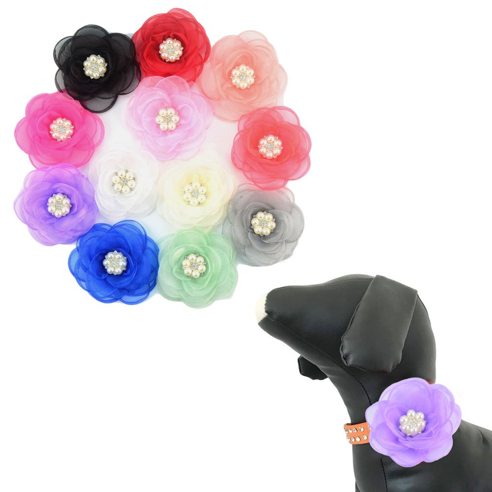 PET SHOW Dog Charms Flower Collar Accessories for Cat Puppy Collars Bowtie Valentine's Day Grooming Pack of 12