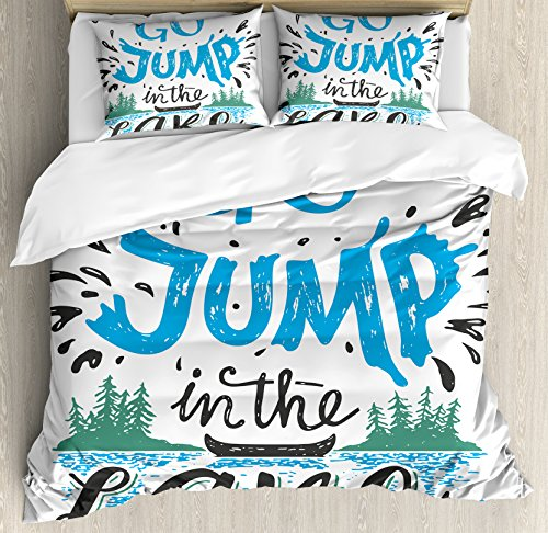 Ambesonne Cabin Decor Duvet Cover Set Queen Size, Vintage Typography Inspiration Quote Lake Sign Canoe Fishing Sports Theme, Decorative 3 Piece Bedding Set with 2 Pillow Shams, Blue Black Green
